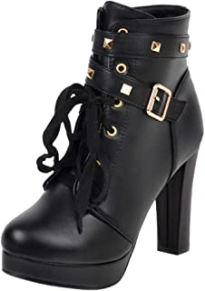 〓COOlCCI〓Women Mid Calf Leather Boots Chunky High Heel Booties Lace Up Military Buckle Motorcycle Cowboy Ankle Booties