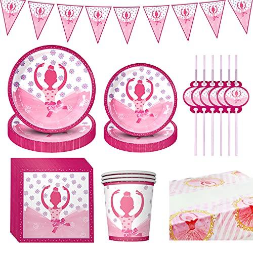 Amycute Vajilla de Fiesta de Cumpleaños para Niñas, Diseño de Bailarina, Vajilla de Rosa para Cumpleaños Decoracion Baby Shower, Incluye Ballet de Platos Vasos Servilletas Pajas Mantel (10 Invitados)