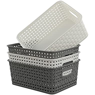 Idomy Plastic Storage Baskets/Bins, Rectangle, 4 Packs