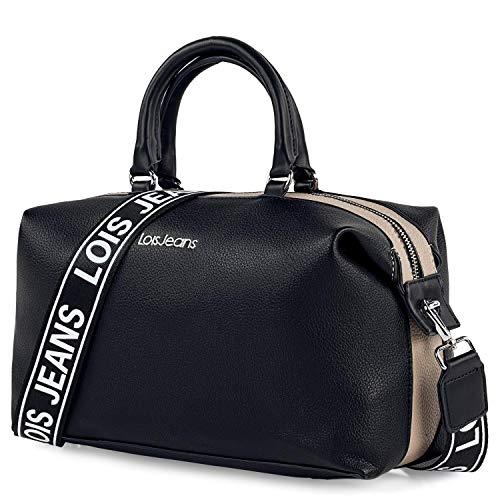 Lois - Bolso de Mano con Dos Bandoleras Intercambiables, una de Ellas Personalizada con el Diseño Minimalista de la Marca, Elegante, Funcional y Moderno 307131, Color Negro-Piedra