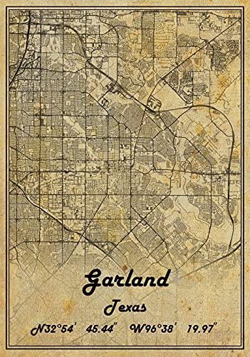 Garland Texas USA Vintage Map Poster Garland Texas USA Map Art Garland Texas USA City Road Map Poster Vintage Gift Map 20X30 inch