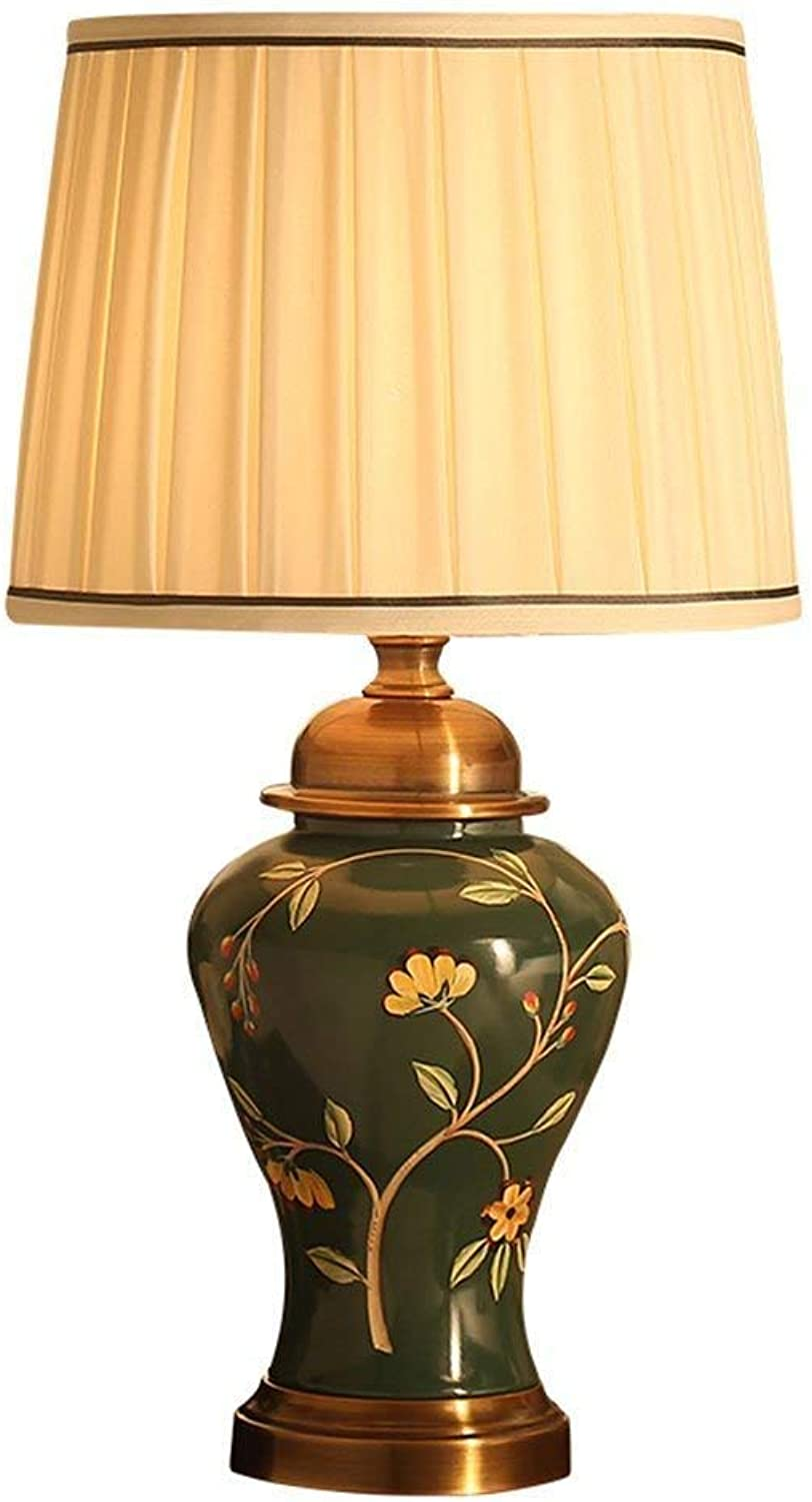 Stts Household Bedside Table Lamp, Decoration Desk Lamp, Studentye Protection Table Lamp, American Luxury Ceramic Copper Table Lamp Bedroom Bedside Creative Hand-Painted Retro Living Room Decorative B07LBFBRN1 | Hat einen langen Ruf