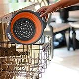 Alarmclocker8B Faltbarer Silikon-Küchenkorb,Sieb,Obst- und Gemüsekorb,Faltbarer Abfluss mit Griff...