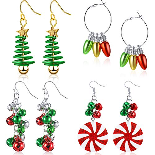4 Pairs Christmas Dangle Earrings Set Christmas Bell Light Bulbs Hoop Earrings Christmas Tree Earrings for Women Girls