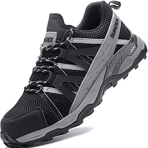 SUADEEX Arbeitsschuhe Sicherheitsschuhe Herren Leicht Sportlich Atmungsaktiv Schutzschuhe mit Stahlkappe Sneaker Anti-Smashing Anti-Piercing Schwarz Gr.45