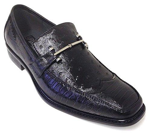 Alberto Fellini Pazzini Men's Dress Shoes Fashion Casual Loafers Slip on Italian Style Ostrich Lizard Snake Print (8.5 D(M) US, Black)