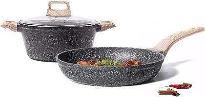 Carote Nonstick Granite Cookware Set, 2 Pcs Induction Pan and Pot Set(20cm Frying pan+20cm Sauce Pot with lid), Safe to...