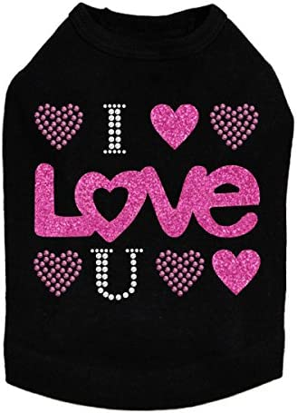 Clearance SALE! Limited time! I Love You Pink Glitter Max 89% OFF 2XL Black Dog Shirt -