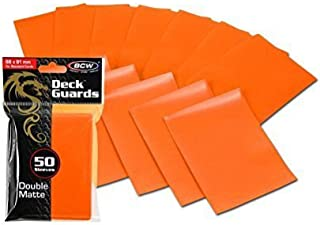 100 Premium Orange Double Matte Deck Guard Sleeve Protectors for Gaming Cards Like Magic The Gathering MTG, Pokemon, Yu-Gi...