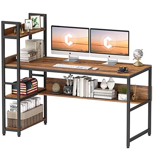Cubiker Computer Desk 55 inch with Storage Shelves, Home Office Desk, Study Writing Work Table, Modern Simple Style, Deep Brown