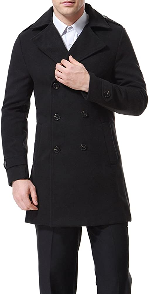AOWOFS Men's Double Breasted Overcoat Pea Coat Classic Wool Blend Winter Coat