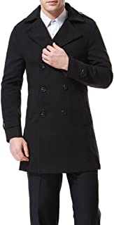 AOWOFS Men's Double Breasted Overcoat Pea Coat Classic Wool Blend Slim Fit Winter Coat