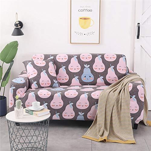 Funda de sofá Antideslizante de Poliéster Spandex Pera Rosa Estampado,Funda elástica Antideslizante Protector Cubierta de Muebles para sofá de 3 plazas(1 Funda de Cojines)