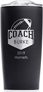 Engraved Personalized Football Coach Stainless Steel Tumbler (Matte Black) - Custom Engraved Football Coach Coffee Travel Mug Gift 20 Ounce