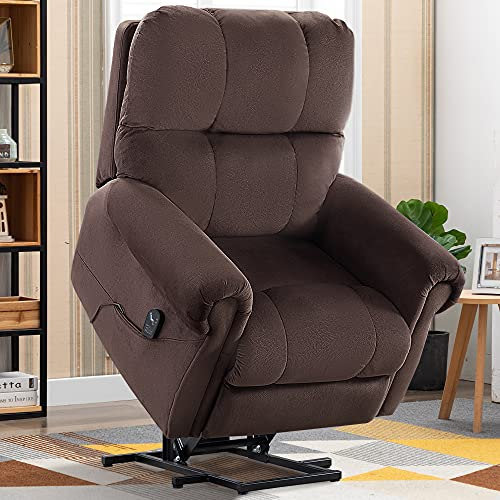 CANMOV Power Lift Recliner Chair for Elderly Lift Chair with Heat and Massage, Heavy Duty Reclining Chair Antiskid Fabric Sofa with Side Pockets & Remote Control for Living Room, Chocolate