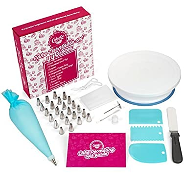 Cake Decorating Supplies with Cake Turntable - Extended 44pcs Baking Supplies - Baking Kit - Baking Set Includes: Piping Bags and Tips Decorating Turntable other Baking Tools - New Cake Decorating Kit