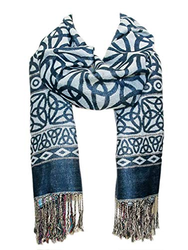 Elegant Celtic Knotwork Scarf, Iconic Celtic Knot Design - Denim Blue