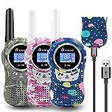 QNIGLO Q168Plus Walkie Talkie Niños Recargables,8 Canales Radio Bidireccional 2 Kms de Largo Alcance PMR,Equipo de Espía,Mejores Juguetes Regalos,con Baterías de Litio(Q168Plus_3Pack)