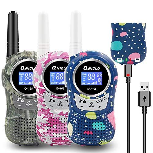 QNIGLO Q168Plus Walkie Talkie Niños Recargables 3 Unidades,8 Canales Radio Bidireccional 2 Kms de Largo Alcance PMR,Equipo de Espía,Mejores Juguetes Regalos,con Baterías de Litio(Q168Plus_3Pac