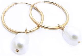 Baroque Freshwater Pearl Hoop Earrings for Women, 14K Gold Filled, 16mm Endless Hoops