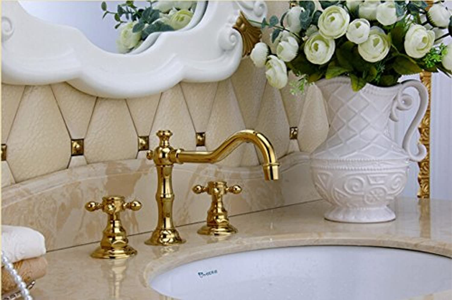 Maifeini The Arrival Of The New High Quality gold Finished Deluxe Bathroom Wide Heat Sink Faucet Basin Series, Please Click Mixer