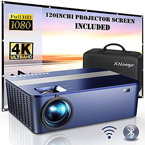 """5G WiFi Bluetooth Native 1080P Projector Includes 120"""" Projector Screens & Bag,9000L HD Projector 4K with 450"""" Display,Outdoor Projector for Support 4K Dolby & Zoom,Compatible with Phone,PC,TV Box,PS4"""