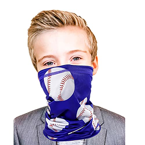 Kids Gator Mask Baseball Youth Boys Neck Gaiter Gift Sports Face Covering Blue Bandanas UPF 40 Sun Protection 3-10 Years Old Child Reusable Fishing Masks Adjustable (Baseball)