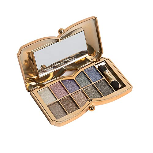 Glitter Eyeshadow Palette,10 Colors Sparkle Shimmer Eye Shadow Highly Pigmented Long Lasting Makeup Set Gold (liang-04)