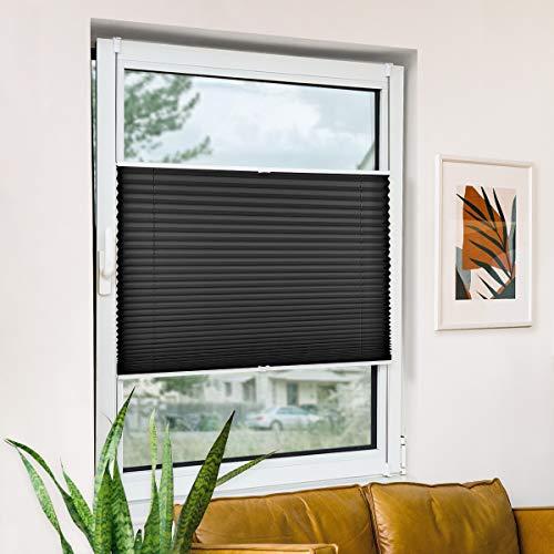 Plisseerollo klemmfix ohne Bohren, Schwarz 50x120cm(BxH) Springrollo mit Klemmträger, blickdichte und durchlässige Klemmrollos für Fenster & Balkontür