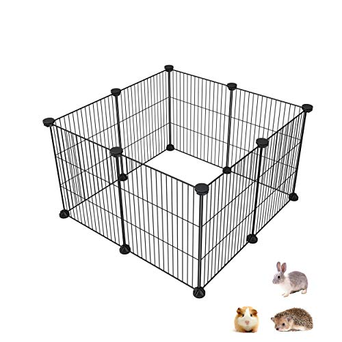 SIMPDIY Pet Playpen, Small Animal Kennel and Fence for Indoor/Outdoor Use, Comfortable Pet Premium Villa Crate Tent for Bunnies, Kitties, Guinea Pigs and Puppies 11.4X14.1 inch 8 Panels Playpens