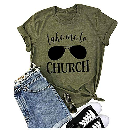 Take Me to Church Shirt Women Funny Letters Print Tee Country Music Casual Short Sleeve T Shirt Tops Size XL (Green)