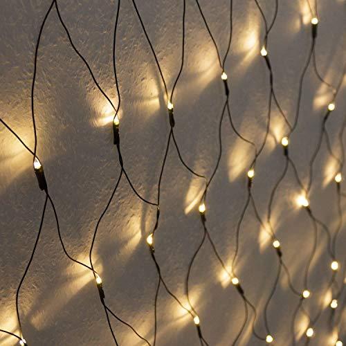Meisterhome LED Lichternetz 3x3 meter für Außen und Innen, für Weihnachten Deko Garten Hochzeit Party, Warmweiß
