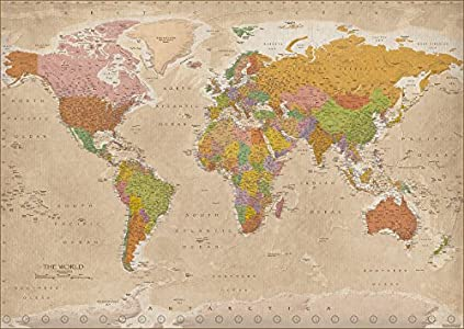 Póster XXL Mapa del Mundo 2018 - Vintage / Antiguo MAPS IN MINUTES® [Versión en Inglés] (140cm x 100cm)
