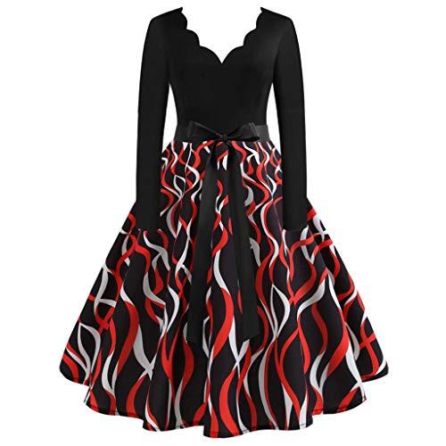 Eaylis Damen Valentinstag Retro Partykleid Frauen Langarm Liebe Print Kleid 1950er Jahre Hausfrau Abend Party Abendkleid Dating Event Weiblich Kleid
