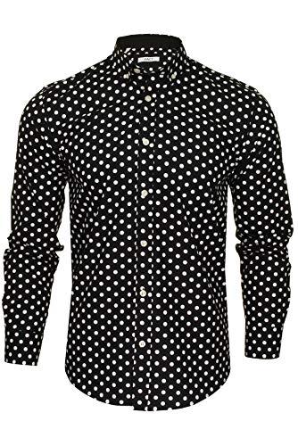 Xact - Camiseta de manga larga para hombre, diseño de lunares, estilo vintage Negro Negro y blanco XL