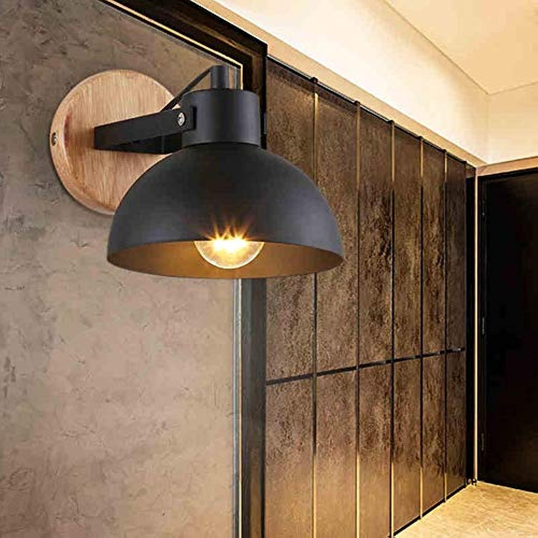 MDD Licht, einfache Retro American Country Rustikale kreative Holzwand Esszimmer Lampe Treppe Nachtwand Gesund und umweltfreundlich Schützen Sie die Augen,Schwarz