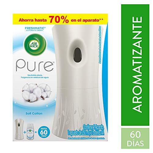 Air Wick Aromatizante Aparato Freshmatic Pure Soft Cotton, color Blanco, 250 ml