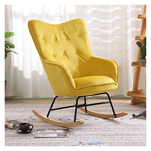 ZYLE Nordic Single Rocking Chair Sofa Recliner Armchair Living Room Bedroom Balcony Lounge Chair Nap Chair Lazy Chair (Color : Yellow Color)