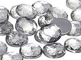 Allstarco 25mm Crystal H102 Flat Back Round Acrylic Rhinestones Plastic Circle Gems for Costume Making Cosplay Jewels Embelishments 20 Pcs (Crystal)