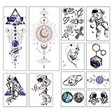 YLGG (1 Juego de 12) astronautas Que regresan a la Tierra Pegatinas de Tatuajes temporales de Moda, adecuadas para Hombres y Mujeres, Impermeables, extraíbles