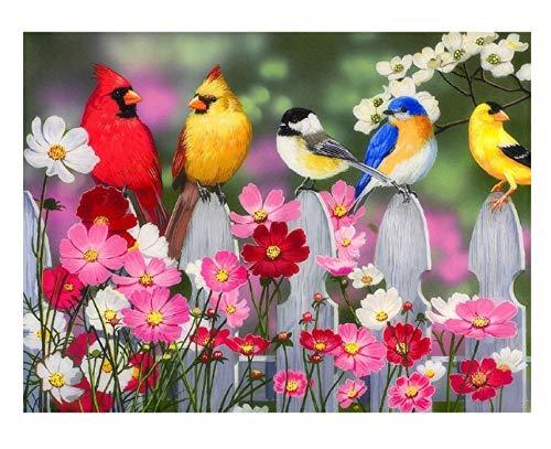 penbiubiu DIY Diamond Painting vijf vogels op het hek, vierkant, kunsthars, lijm, decoratie binnen, muurschildering, decoratief