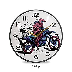 PUTIEN Round Wall Clock, Modern Grunge Illustration of a Girl on Vintage Wall Clocks Battery Operated Kitchen/Home/School Patio Decor 9.5