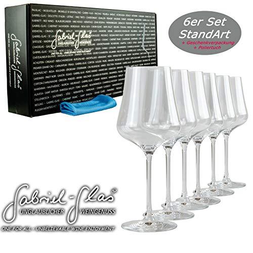 Palatina Werkstatt ® Gabriel-Glas | Standart Edition 6er Geschenk-Set | Weinglas nur 150 Gramm schwer | spülmaschinenfest + großem weichem Gläserpoliertuch