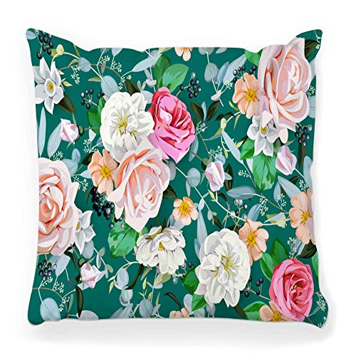 Fantastic Fairy Soft Square Pillow Cover 20x20 Spring Pattern Bunch Flower Berry Blossom Bouquet Brier Cute Soft Delicate Elegant Home