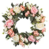 SHACOS Artificial Pink Rose Wreath 13 Inches for Front Door Rose Flower Wreath for Wall Window Wreath Indoor Outdoor (Pink White Rose, 13 inch)