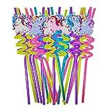 20 PCS Unicornio Pajitas ,Pajitas de con Diseño de Unicornio para Fiestas,piezas Pajitas de...