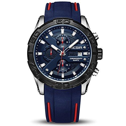 MEGIR Men's Analogue Sport Quartz Wrist Watches with Soft Silicone Strap Chronograph Blue Luminous Auto Calendar Waterproof Function (2055 Blue)