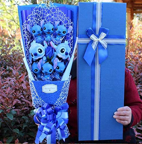 Stitch Soup Flower Stitch Peluches, Anime Lilo y Stitch Muñecos de Animales de PVC, Kawaii Stich Bouquet Regalo romántico 58x25x12cm Azul