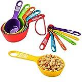 Juego de 12 tazas de medición y cucharas, plástico colorido cocina utensilios de medición para líquidos y sólidos para cocinar (juegos de colores 1)