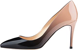 Women's Middle Heels Sexy Stiletto Shoes Pointy Toe Slip-On Office Pumps